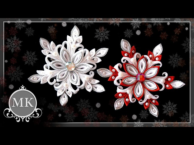 Нежная снежинка. Канзаши. Мастер-класс. Delicate snowflake. Kanzashi. Master class.