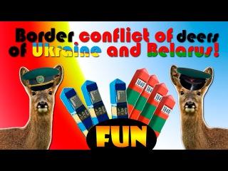 Border conflict of deers of Ukraine and Belarus! Funny video!