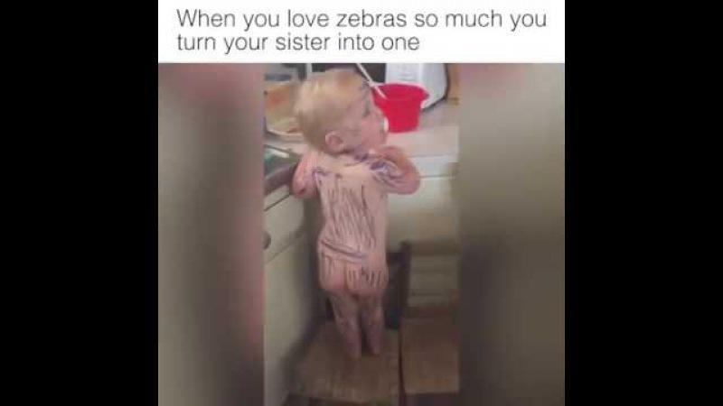 Ingin menggambar Zebra, adek pun bisa dijadikan kanvas