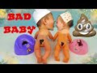 Bad Baby Dolls Вредные Детки Пупсики Малыши какают на горшок Видео для детей Talking Twin Babies