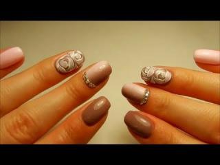 Выравнивание ногтевой пластины, вертикальный градиент, розы по мокрому