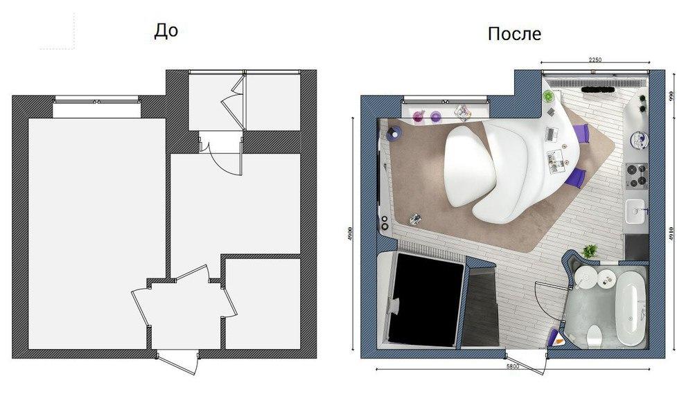 Космический проект студии из однокомнатной квартиры 30,5 м с присоединенной лоджией.