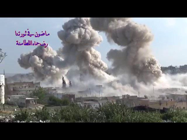 Сирия 16 04 2017 Авиаудар объемно детонирующим бомбами по бармалеям в городе Аль Ла