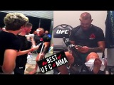 Conor Mcgregor probably got a broken foot; Conor McGregor and Nate Diaz at UFC 202 afterparty