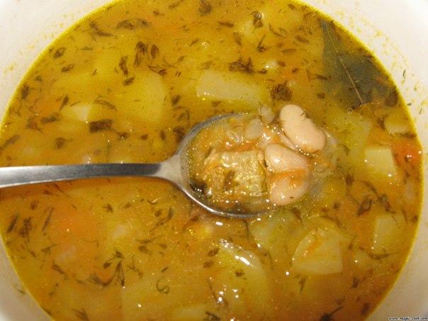 Постный фасолевый суп из консервированной фасоли