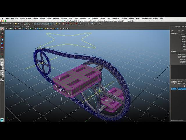 Autodesk Maya - Rigging Pedais Engrenagem e Corrente