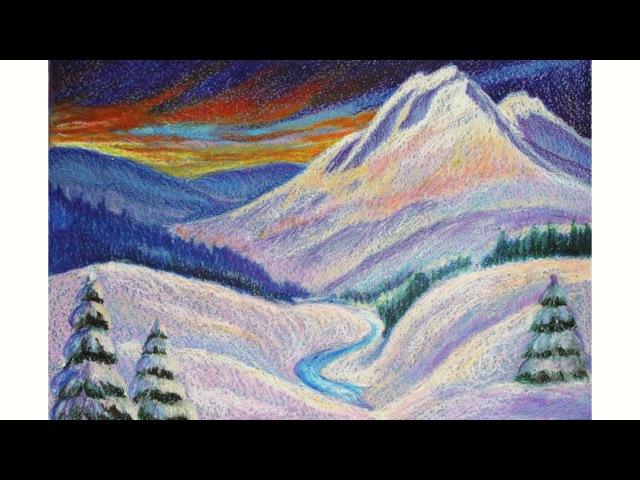 зимний пейзаж восковыми мелками