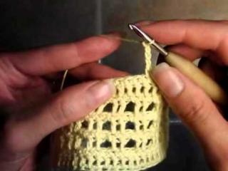 6  Как связать шапочку для хвостиков, вертикальная деталь, 1 ряд