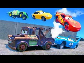 Disney Dinoco Cars Jump Fall Down from the Roof, Kids Smash Party w/ Spiderman Lightning McQueen
