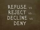 Какая разница между Refuse, Reject, Decline, Deny? Простой Английский