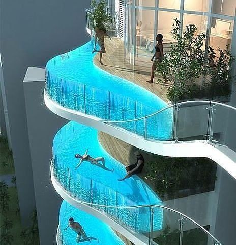 В доме 30 этажей каждая квартира имеет балкон-бассейн