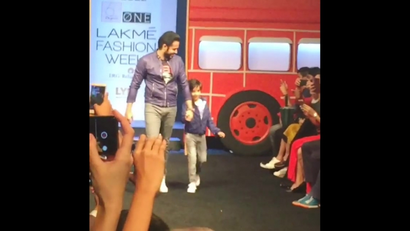 Here it is !! Walking at @lakmefashionwk with Ayaan! 😀 Diesel Hamleys