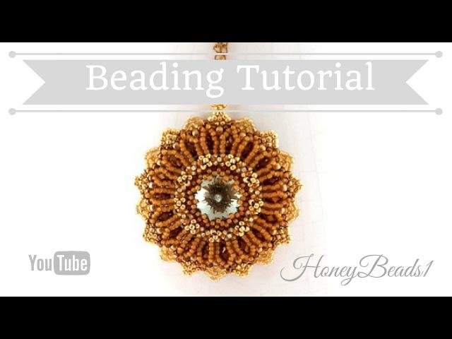 Shiny Rivoli Pendant 2 (The improved version) Beading Tutorial by HoneyBeads1 (Photo tutorial)
