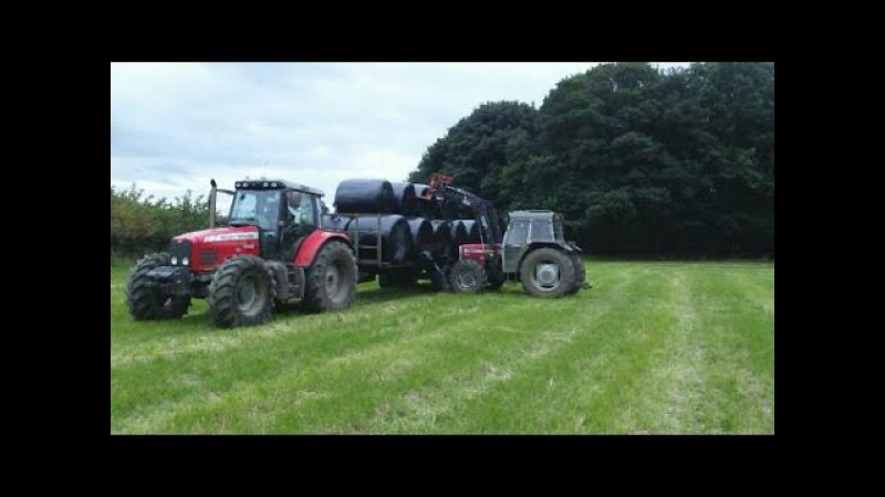 Carting and Stacking silage bales 2016