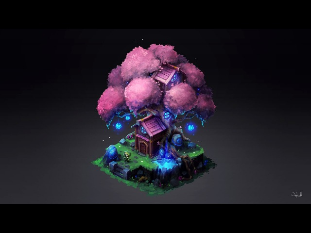 Isometric Elf Tree • Digital Drawing Process | by Sephiroth Art