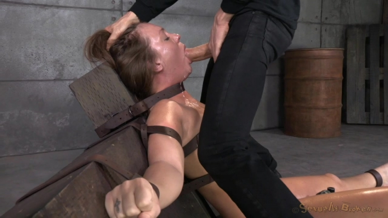 Maddy OReilly Sexually Broken Maddy O Reilly gets restrained and throatboarded by 2 huge cocks, brutal