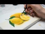 How to draw Lemons, training - Acrylic painting Homemade Illustration