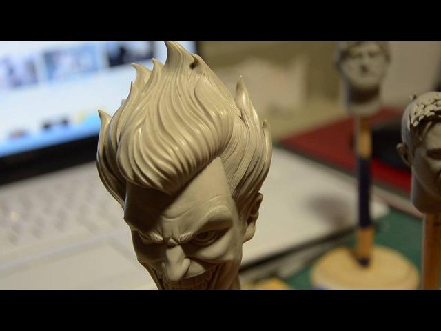Joker bust sculpting Hair texturing Sculpting process