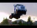 Летающий Freightliner FLD120 Прыжок на 50 метров Flying truck Jump 50 meters