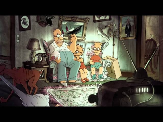 Super Simpsons Couch Gag (2014, from great french Animation Artist Sylvain Chomet)