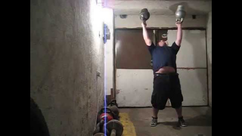 The heaviest bottoms up double kettlebells press ever - 93kg. Парный жим гирь вверх дном-93кг