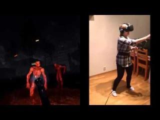 Девушка играет в хоррор-игру в шлеме виртуальной реальности.