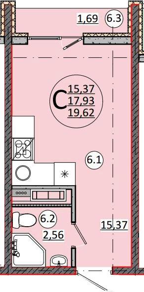 Концепт студии 18 м от застройщика Проспектстрой, Краснодар.