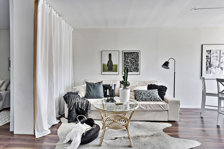 Интерьер квартиры-студии 31 м нетиповой планировки.