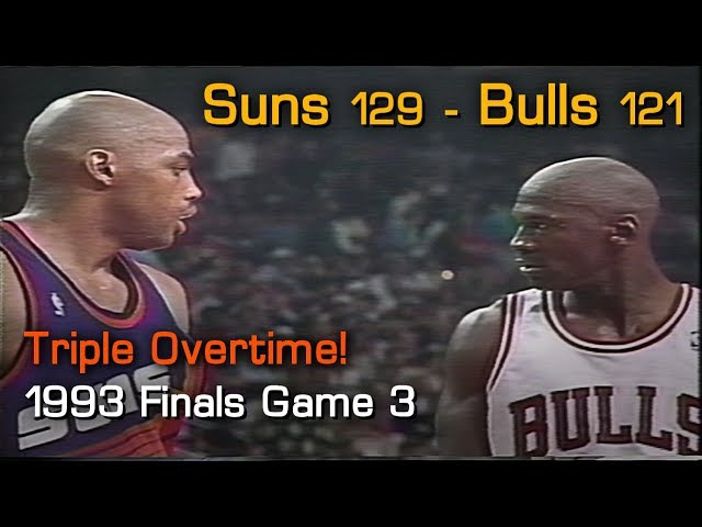 Barkley vs MJ: Phoenix Suns 129, Chicago Bulls 121 Triple OT! Game 3, 1993 NBA Finals
