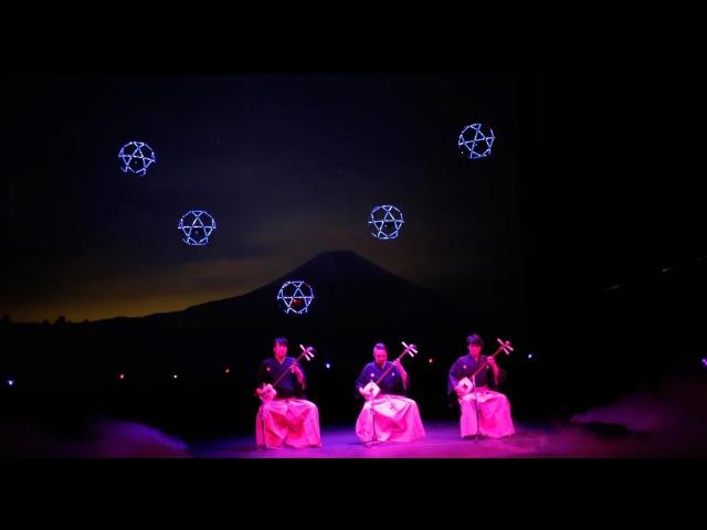 Воздушный балет дронов на фоне Фудзиямы Sky Magic Live at Drone Ballet Show