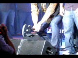 KISS's Paul Stanley smashing toy guitar