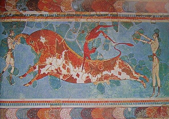 Фреска - Момиче прескача бик