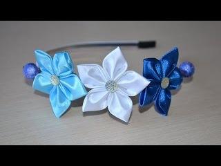 Цветы из лент Мастер класс канзаши ободок атласные цветы DIY flowers from ribbons kanzashi