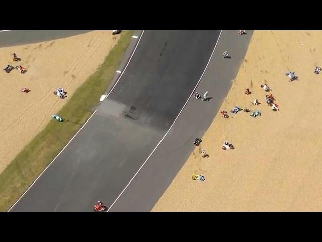 Moto3 Masive crash le mans 21/05/2017, MotoGP Le Mans: Moto3 race stopped after huge crash