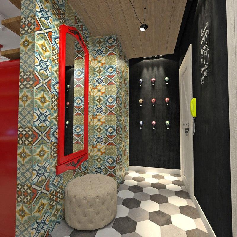 Яркий проект студии 33 м под лофт с подиумом на присоединенной лоджии.