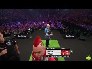 Peter Wright vs Phil Taylor (2017 Premier League Darts / Week 8)