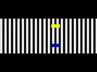 Искажение восприятия передвижения. Эти блоки не движутся друг за другом — их скорость одинакова.