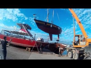 Спуск на воду яхты Испаньола Анапа 26апр2016