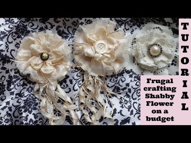 Melting Flower on a Budget, no sew, Shabby Chic Tutorial, DIY, How to, Frugal, by Crafty Devotion