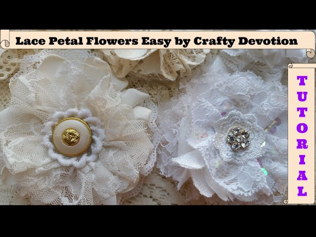 Lace Flower, DIY, Circle shape, Shabby fabric flower tutorial, wedding flowers, no sew, easy,
