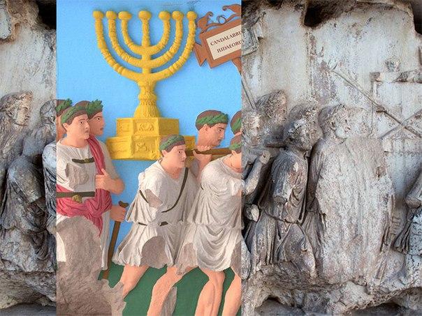 Цифровое воссоздание Арки Тита, где римские солдаты изображены с сокровищами, захваченными после их завоевания Иерусалима, накладывается поверх фотографии оригинала.