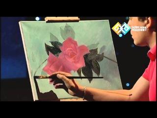 Картина маслом (0037) - Ветка розы