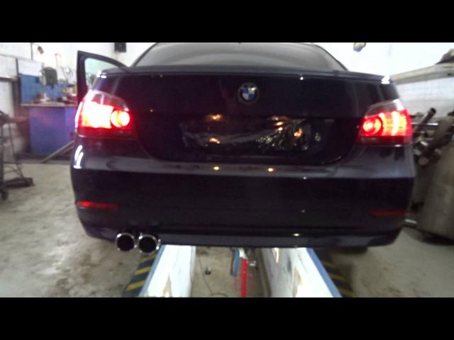 Прямоточный глушитель на BMW 5 E60 и круглые осадки из полированной нержавейки