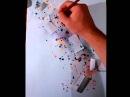 Рисунок акварель методом брызги