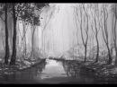 Гризайль1 Рисуем лес и реку акварелью Легко Woodland and river