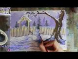 Как нарисовать зимний пейзаж со снеговиком гуашью! #Dari_Art
