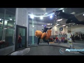 Шеф-инструктор оседлал огромного плюшевого медведя в аэротрубе