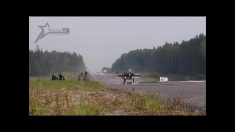 Взлёт и посадка на авто шоссе МиГ-29 и СУ-25..( моё соло..) 2