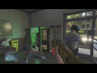GTA 5 Майкл и Лос-Сантос полицейский патруль Тревора / Пять звезд побег