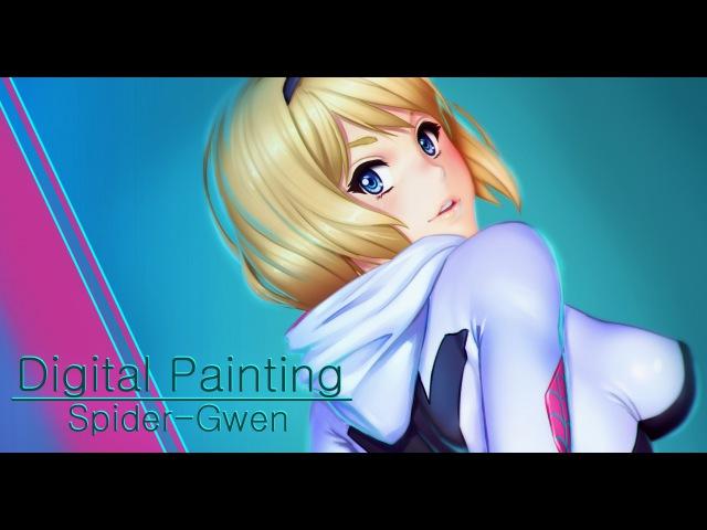 Spider Gwen fanart drawing process